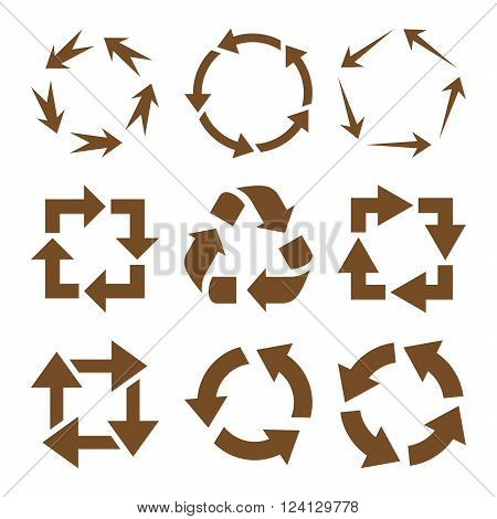 Recycle Arrows vector icon set. Collection style is brown flat symbols on a white background. Recycle Arrows icons.