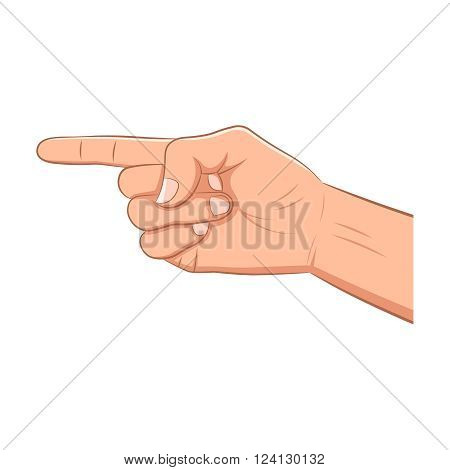 Realistic hand with pointing finger isolated on a white background. Navigation direction follow sign. Flat design for social networks web sites apps.