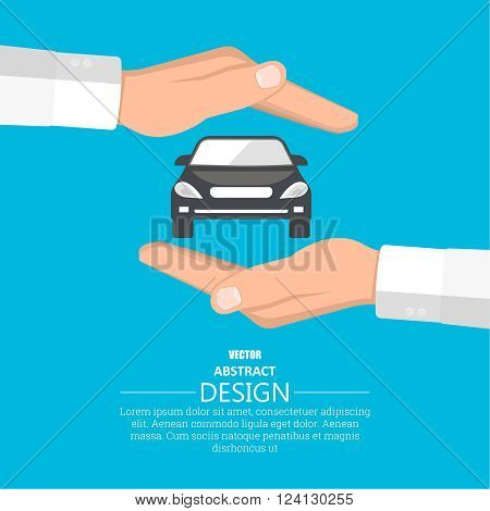 Concept insurance of cars. Cars under protection. A vector illustration in flat style.
