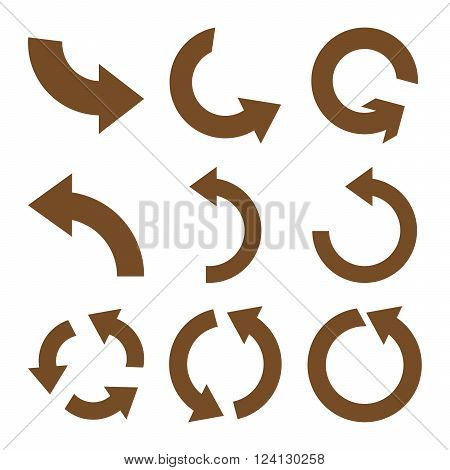 Rotate Counterclockwise vector icon set. Collection style is brown flat symbols on a white background. Rotate Counterclockwise icons.