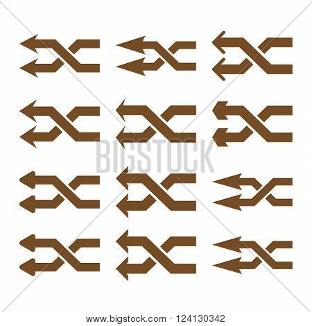 Shuffle Arrows Left vector icon set. Collection style is brown flat symbols on a white background. Shuffle Arrows Left icons.
