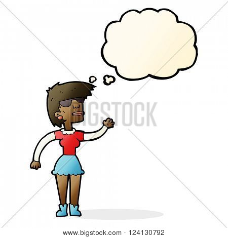 cartoon woman in spectacles waving with thought bubble