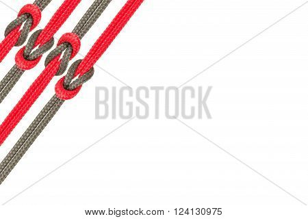 Connected Concept , Different Ropes Tied  Isolate On White With Clipping Path