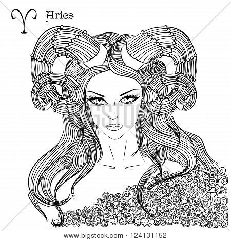 Zodiac. Vector illustration of the astrological sign of Aries as a beautiful girl with long hair. Lineart for coloring book page