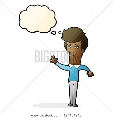 cartoon bored man waving with thought bubble