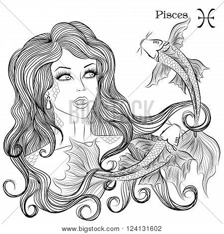 Zodiac. Vector illustration of the astrological sign of Pisces as a beautiful girl with long hair. Lineart for coloring book page