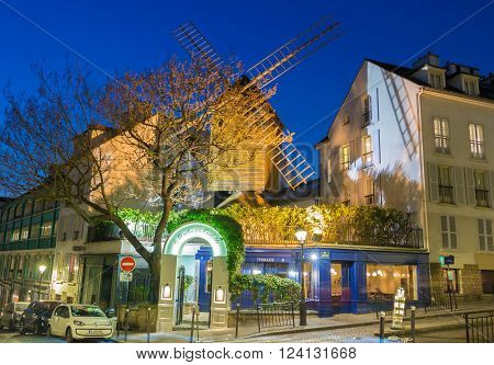 Paris; France-March 18; 2016 : The famous restaurant Le Moulin de la galette is historical place in Manmartre quarter.It has been painted by artists such as Renoir Toulouse Lautrec and Pablo Picasso.