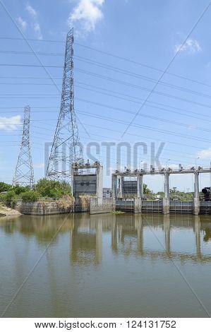 public dam in country Khlong Preng , Chachoengsao Thailand