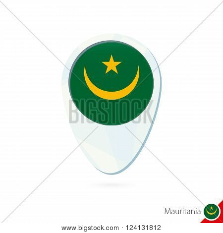 Mauritania Flag Location Map Pin Icon On White Background.