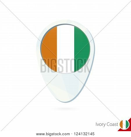 Ivory Coast Flag Location Map Pin Icon On White Background.