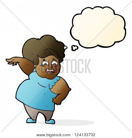 cartoon overweight woman with thought bubble