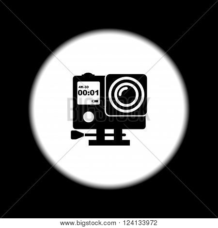 Action camera outline monochrome icon. Extreme cam. Flat design style eps 10