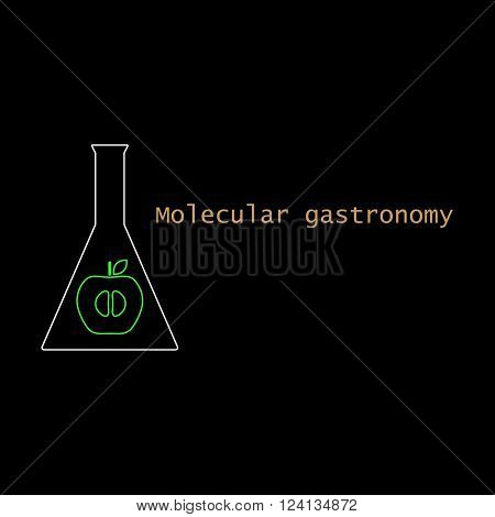 Abstract molecular structure with products on black backgrounds. Molecular gastronomy. Vector illustration