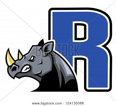 A vector illustration of initial rhinoceros .