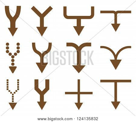 Unite Arrows Down vector icon set. Collection style is brown flat symbols on a white background. Unite Arrows Down icons.
