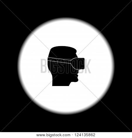 Virtual reality glass on head isolated vector line icon front view.