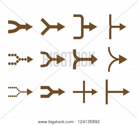 Unite Arrows Right vector icon set. Collection style is brown flat symbols on a white background. Unite Arrows Right icons.