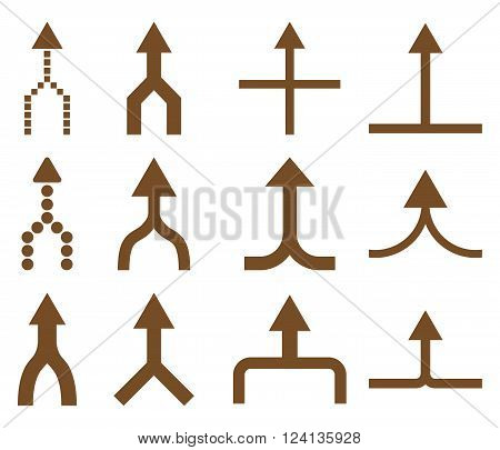 Unite Arrows Up vector icon set. Collection style is brown flat symbols on a white background. Unite Arrows Up icons.