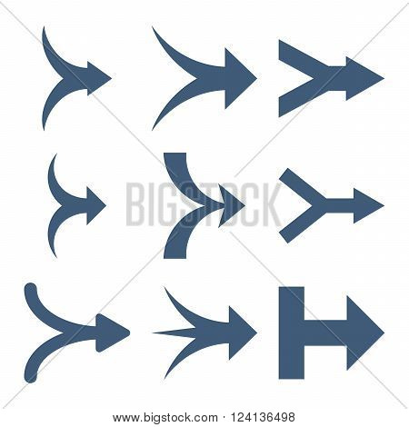 Join Arrows Right vector icon set. Collection style is blue flat symbols on a white background. Join Arrows Right icons.