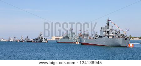 SEVASTOPOL, RUSSIA - MAY 7, 2015: Parade of the Russian warships celebrating in honor of 70th anniversary of Victory Day.