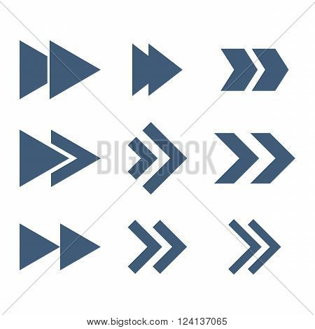 Right Direction vector icon set. Collection style is blue flat symbols on a white background. Right Direction icons.