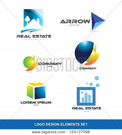 Vector company logo icon element template set real estate house roof arrow 3d sphere circle cube