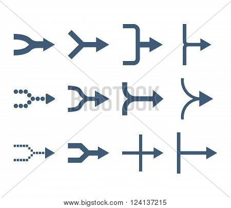Unite Arrows Right vector icon set. Collection style is blue flat symbols on a white background. Unite Arrows Right icons.