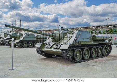 VERKHNYAYA PYSHMA RUSSIA - JUNE 11 2015: Soviet 85 mm self-propelled gun SU-85 - exhibit of the Museum of military equipment.