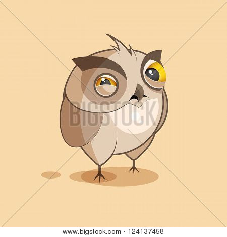 Vector Stock Illustration isolated Emoji character cartoon owl squints and looks suspiciously sticker emoticon for site, infographics, video, animation, websites, e-mails, newsletters, reports, comics