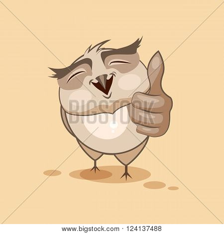 Vector Stock Illustration isolated Emoji character cartoon owl approves with thumb up sticker emoticon for site, infographics, video, animation, websites, e-mails, newsletters, reports, comics