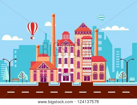 Stock vector illustration city street with Stone Brewery, old English architecture, factory building in flat style element for infographic, website, icon, games, motion design, video