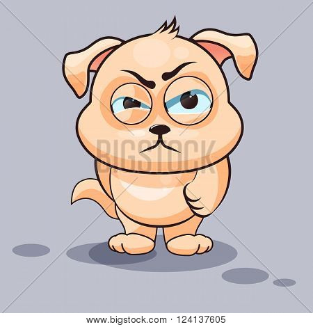 Vector Stock Illustration isolated Emoji character cartoon dog sticker emoticon with angry emotion for site, infographics, video, animation, websites, e-mails, newsletters, reports, comics