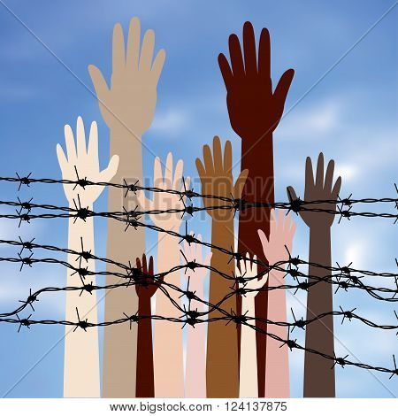 Hands Behind A Barbed Wire