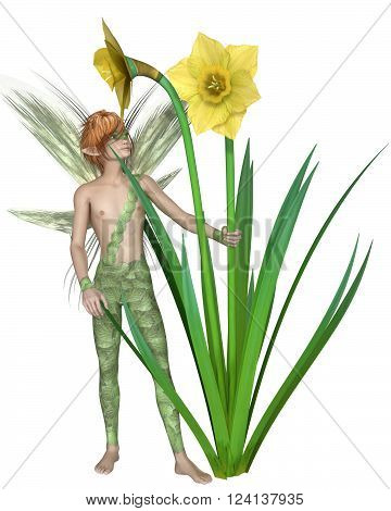Fantasy illustration of a fairy boy standing with yellow spring daffodils, 3d digitally rendered illustration