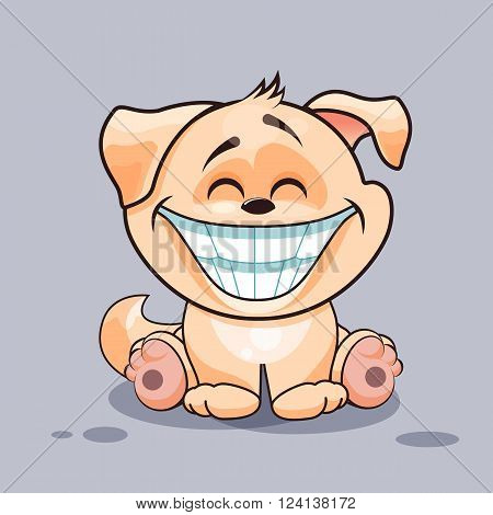 Vector Stock Illustration isolated Emoji character cartoon dog with a huge smile from ear to ear sticker emoticon for site, infographics, video, animation, website, e-mail, newsletter, reports, comics
