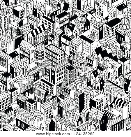 City Seamless Pattern is isometric doodle drawing of different building's types. Illustration is in eps8 vector mode pattern is repetitive.