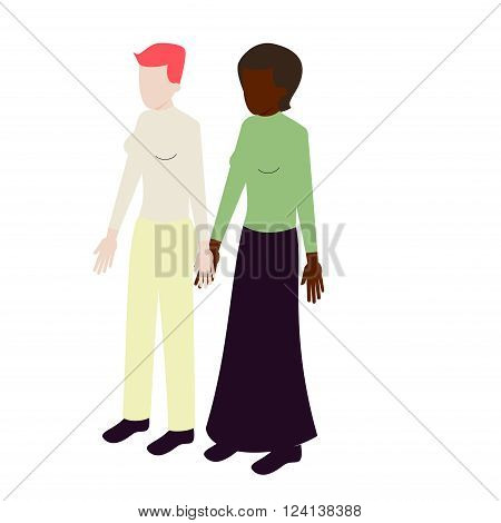 Isometric young international modern lesbian couple holding hands