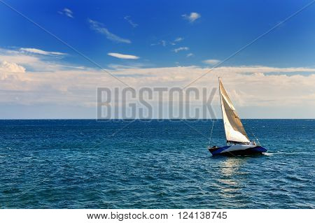sailing boat in the Mediterranenan sea of Apulia Southern Italy