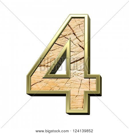 Number from wooden with gold frame alphabet set isolated over white. 3D illustration.