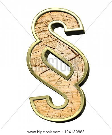 Paragraph sign from pine wood with gold frame alphabet set isolated over white. 3D illustration.