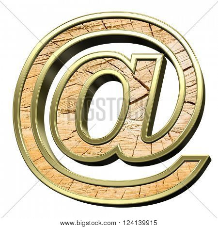 E-mail sign from pine wood with gold frame alphabet set isolated over white. 3D illustration.
