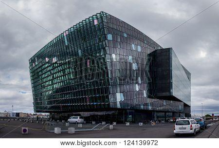 REYKJAVIK ICELAND - JUNE 27 - Famous modern building of Harpa concert hall in Reykjavik Iceland. The photo was taken on June 27 2014.