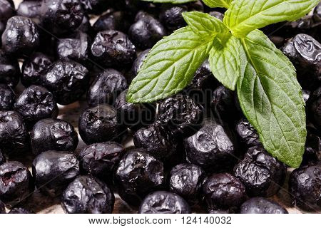 Mint leafs and dried aronia background, chokeberry