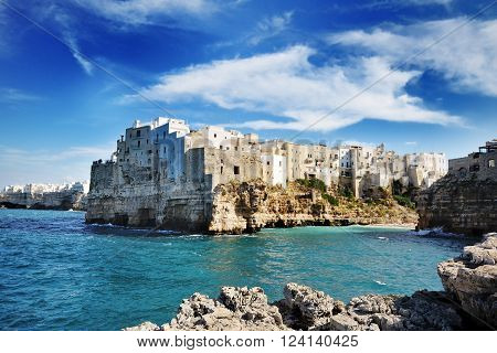 beautiful view of Polignano a mare Apulia city on mediterranean sea Southern Italy