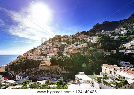 Positano panoramic view in summer day Amalfi coast Southern Italy