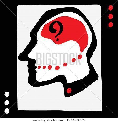 Thinking man head - vecto graphic illustration , design element