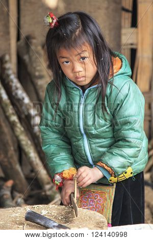 Sapa, Vietnam - February 17, 2016: Young child in the village of Sapa in north Vietnam using a big knife to cut the wood