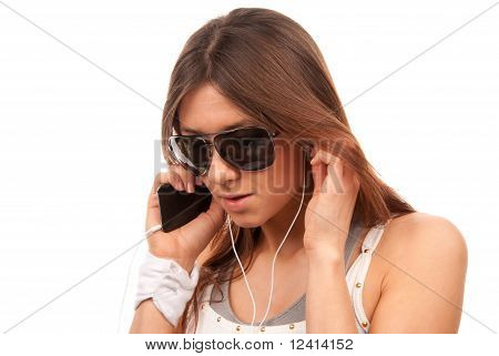 Fashion Spy Woman In Sunglasses Talking On Mobile Cellphone