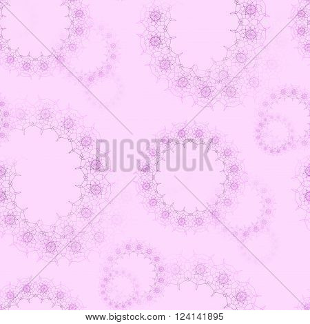 Abstract geometric seamless background. Delicate and dreamy floral circles pattern blurred. Violet laces pattern on pink.
