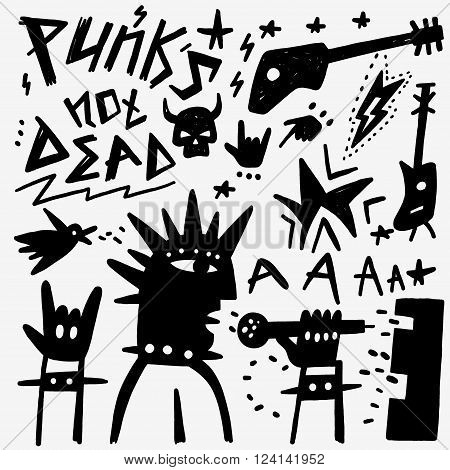 punk musician - set icons in graphic style , design elements